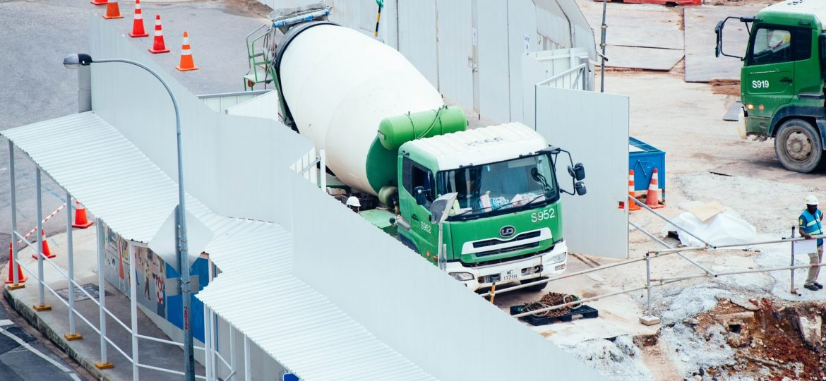 Cement truck parked at a job site